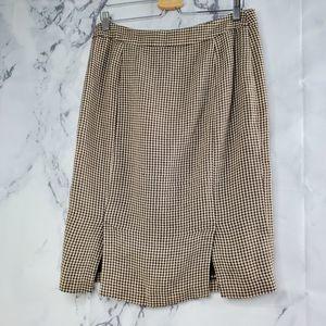 Lauren Ralph Lauren 100% Linen Houndstooth Skirt